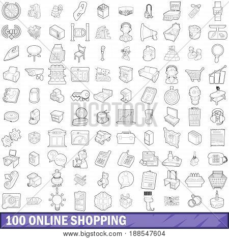 100 online shopping icons set in outline style for any design vector illustration