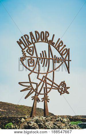 Lanzarote Spain March 31 2017: Entrance sign to the Mirador del Rio Lanzarote Spain