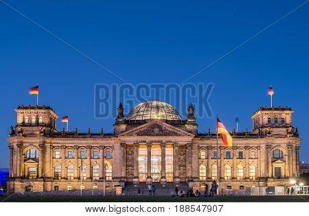 Berlin, Germany - May 27, 2017: The Reichstag Building, Seat Of The German Parliament (deutscher Bun