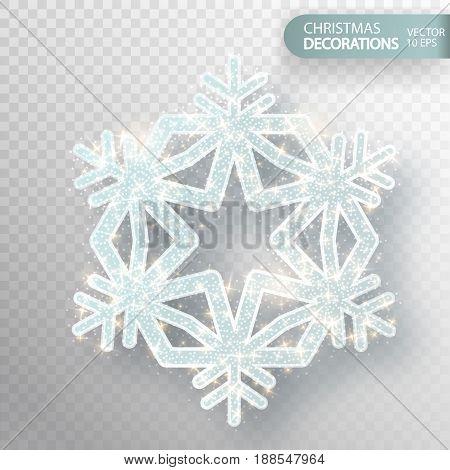 Christmas Decoration. Glass Snowflake