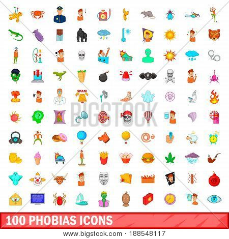 100 phobias icons set in cartoon style for any design vector illustration