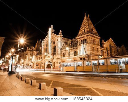 Night shot of historical building of Central Market Hall in Budapest, Hungary.