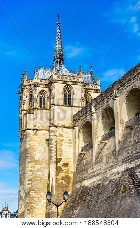 Saint Hubert Chapel at the Amboise Castle in France, the Loire Valley. The burial place of Leonardo da Vinci