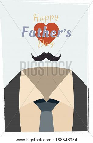 Happy Father's Day. Festive greeting banner. Font combination with the heart. Flat vector illustration EPS10.
