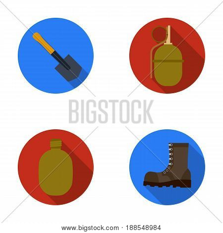 Sapper blade, hand grenade, army flask, soldier's boot. Military and army set collection icons in flat style vector symbol stock illustration .