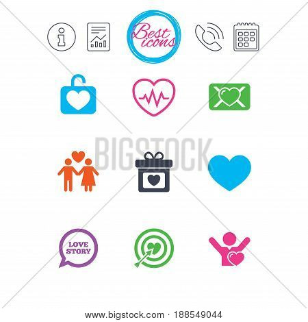 Information, report and calendar signs. Love, valentine day icons. Target with heart, oath letter and locker symbols. Couple lovers, heartbeat signs. Classic simple flat web icons. Vector