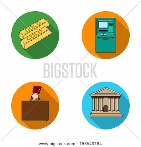 Gold bars, ATM, bank building, a case with money. Money and finance set collection icons in flat style vector symbol stock illustration .