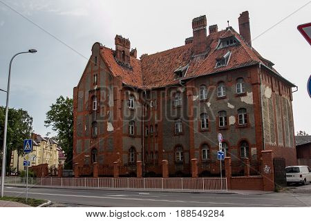 Old former german mansion in Baltiysk - infantry barracks on headquarter of the Baltic Fleet base