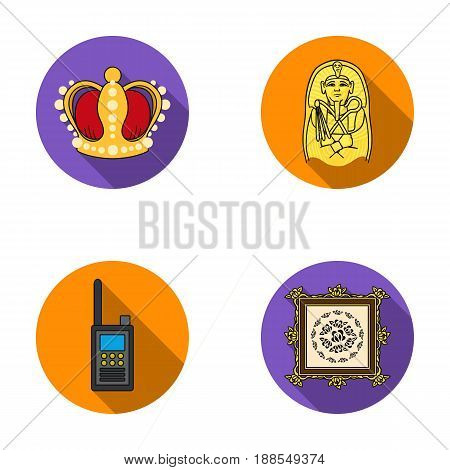 Crown, sarcophagus of the pharaoh, picture in the frame.Museum set collection icons in flat style vector symbol stock illustration .