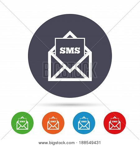 Mail icon. Envelope symbol. Message sms sign. Mail navigation button. Round colourful buttons with flat icons. Vector