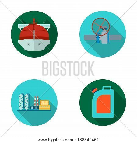 Tanker, pipe stop, oil refinery, canister with gasoline. Oil industry set collection icons in flat style vector symbol stock illustration .