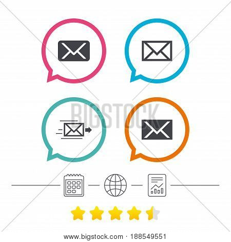 Mail envelope icons. Message delivery symbol. Post office letter signs. Calendar, internet globe and report linear icons. Star vote ranking. Vector