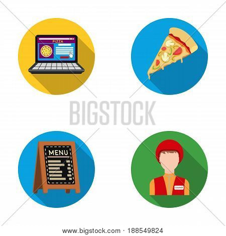 Reception of orders, a piece of pizza, a menu in the pizzeria, a courier for delivery. Pizza and pizzeria set collection icons in flat style vector symbol stock illustration .