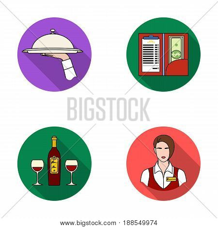 A tray with a cloth, check and cash, a bottle of wine and glasses, a waitress with a badge. Restaurant set collection icons in flat style vector symbol stock illustration .