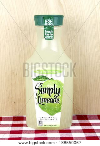 Spencer Wisconsin May 29 2017 Bottle of Simply Limeade Simply is an American based company founded in 2001
