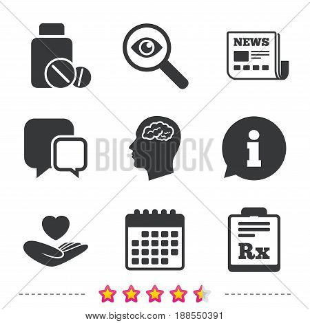 Medicine icons. Medical tablets bottle, head with brain, prescription Rx signs. Pharmacy or medicine symbol. Hand holds heart. Newspaper, information and calendar icons. Vector