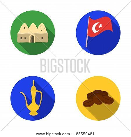 House hive, national flag, coffee pot copper, grains coffee.Turkey set collection icons in flat style vector symbol stock illustration .