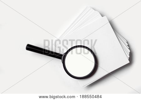 Magnifier note paper for square white on white background isolation