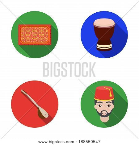 Turkish carpet, saz, drum, turkish men.Turkey set collection icons in flat style vector symbol stock illustration .