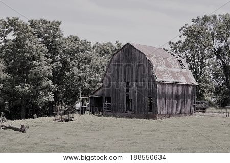 Older Barn in the United States in  black and white