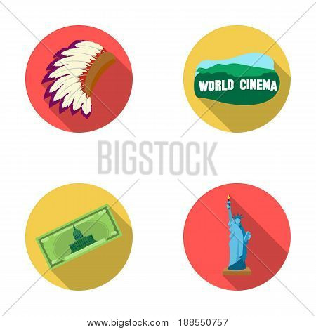 Mohavk, world cinema, dollar, a statue of liberty.USA country set collection icons in flat style vector symbol stock illustration .