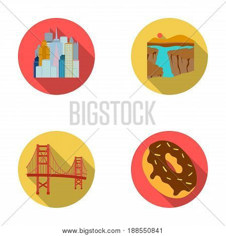 A megacity, a grand canyon, a golden gate bridge, donut with chocolate. The US country set collection icons in flat style vector symbol stock illustration .