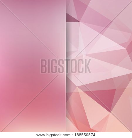 Background of pastel pink geometric shapes. Blur background with glass. Colorful mosaic pattern. Vector EPS 10. Vector illustration