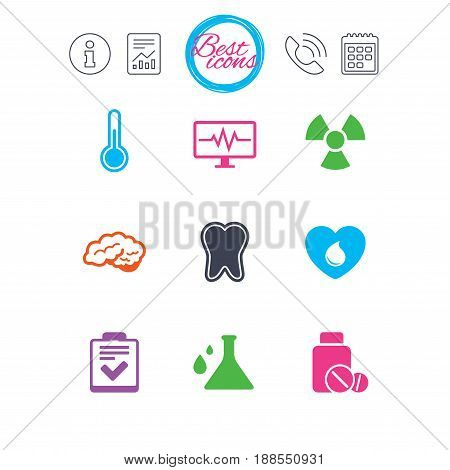 Information, report and calendar signs. Medicine, medical health and diagnosis icons. Blood donate, thermometer and pills signs. Tooth, neurology symbols. Classic simple flat web icons. Vector
