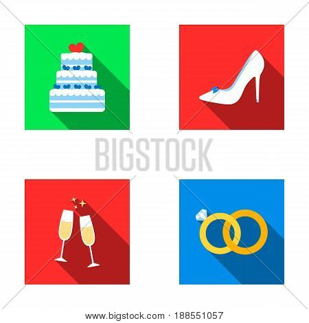 Wedding cake, bride's shoes, champagne glasses, wedding rings. Wedding set collection icons in flat style vector symbol stock illustration .
