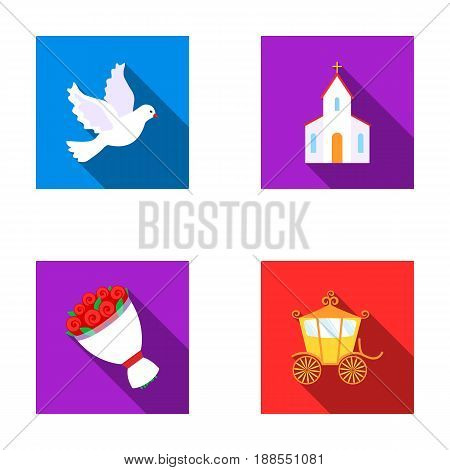 Pigeon, church, wedding bouquet, carriage. Wedding set collection icons in flat style vector symbol stock illustration .