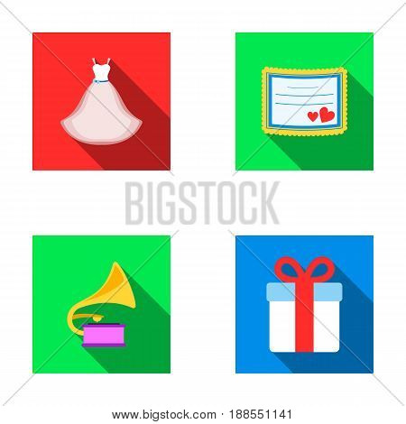 Wedding dress, invitation, gift, gramophone. Wedding set collection icons in flat style vector symbol stock illustration .