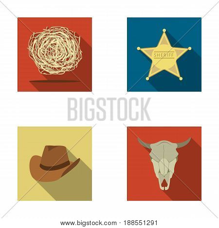 Tumbleweed, sheriff s star, hat, bull s skull. West West set collection icons in flat style vector symbol stock illustration .