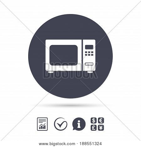 Microwave oven sign icon. Kitchen electric stove symbol. Report document, information and check tick icons. Currency exchange. Vector