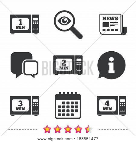 Microwave oven icons. Cook in electric stove symbols. Heat 1, 2, 3 and 4 minutes signs. Newspaper, information and calendar icons. Investigate magnifier, chat symbol. Vector