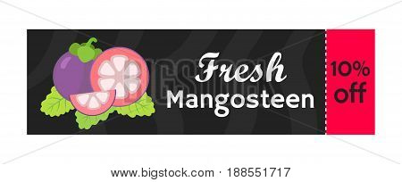 Mangosteen on sale. Whole purple fruit coupon. Tropic exotic ripe fruit. Flat vector style.