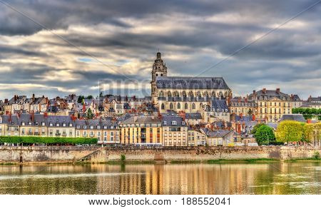 View of the old town of Blois and the Loire river - France, Loir-et-Cher