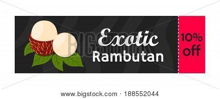 Rambutan tropical fruit on sale. Exotic vitamin nutrition for market. Juicy ripe fruit in flat vector style. Natural organic rambutan.