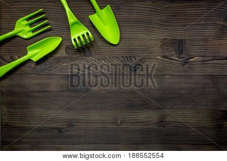 green equipment with rake, trowel for planting greenary in summer on woden desk background top view space for text