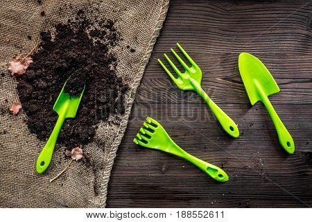 Planting flowers in garden with green instruments and ground on wooden desk background top view