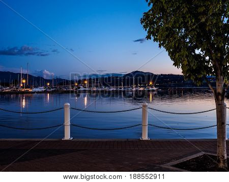 Promenade along the Okanagan Lake waterfront in Kelowna BC