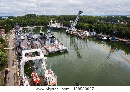 Baltiysk, Kaliningrad region, Russia - August 08, 2014: Aerial view to Russian warships of Baltic fleet anchored in the bay