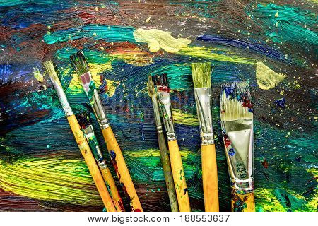 Color oil painting texture with brushes for bright abstract background
