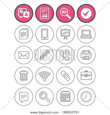 Question and answer, check tick and report signs. Office equipment icons. Computer, printer and smartphone. Wi-fi, chat speech bubble and copy documents. Vector