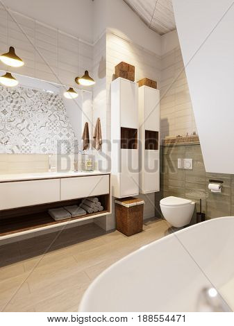 Rustic Provence Loft Bathroom WC Room Interior Design with Large White Washbasin Oval Bath Toilet. 3d rendering