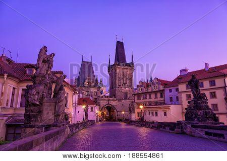 Charles bridge in Prague Czech republic during sunrise.