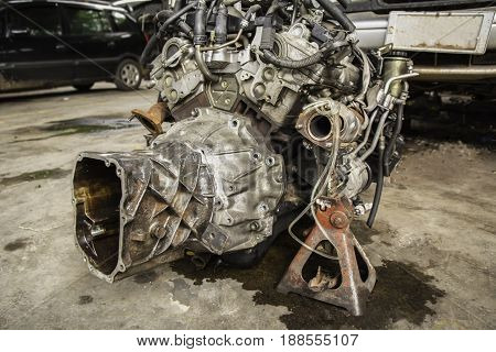 The old engine of a car. Internal design of engine. Car engine part.