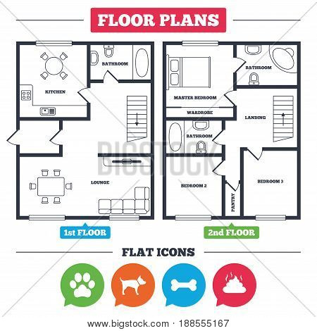 Architecture plan with furniture. House floor plan. Pets icons. Dog paw and feces signs. Clean up after pets. Pets food. Kitchen, lounge and bathroom. Vector
