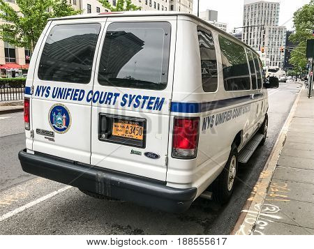 Brooklyn May 24 2017: NYS Unified Court System vehicle is parked by the New York Supreme Court building in Brooklyn.