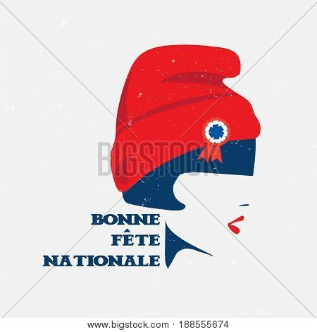 Vector illustration for the French National Day also known as Bastille Day or 14th of July. Marianne, symbol of France and text in French Happy National Day. Made in a vintage grunge poster style.