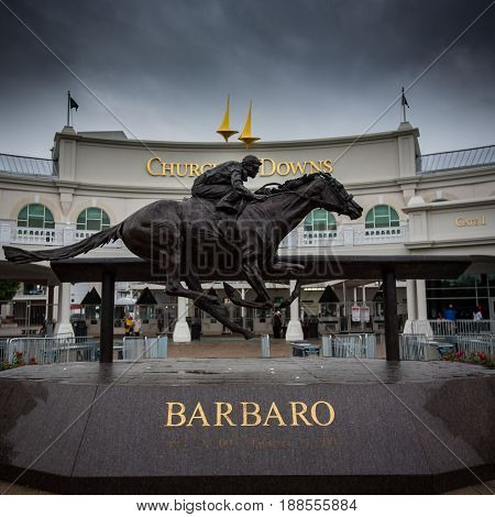 Louisville United States: May 4 2017: Barbaro Statue at Gate 1 on an overcast day